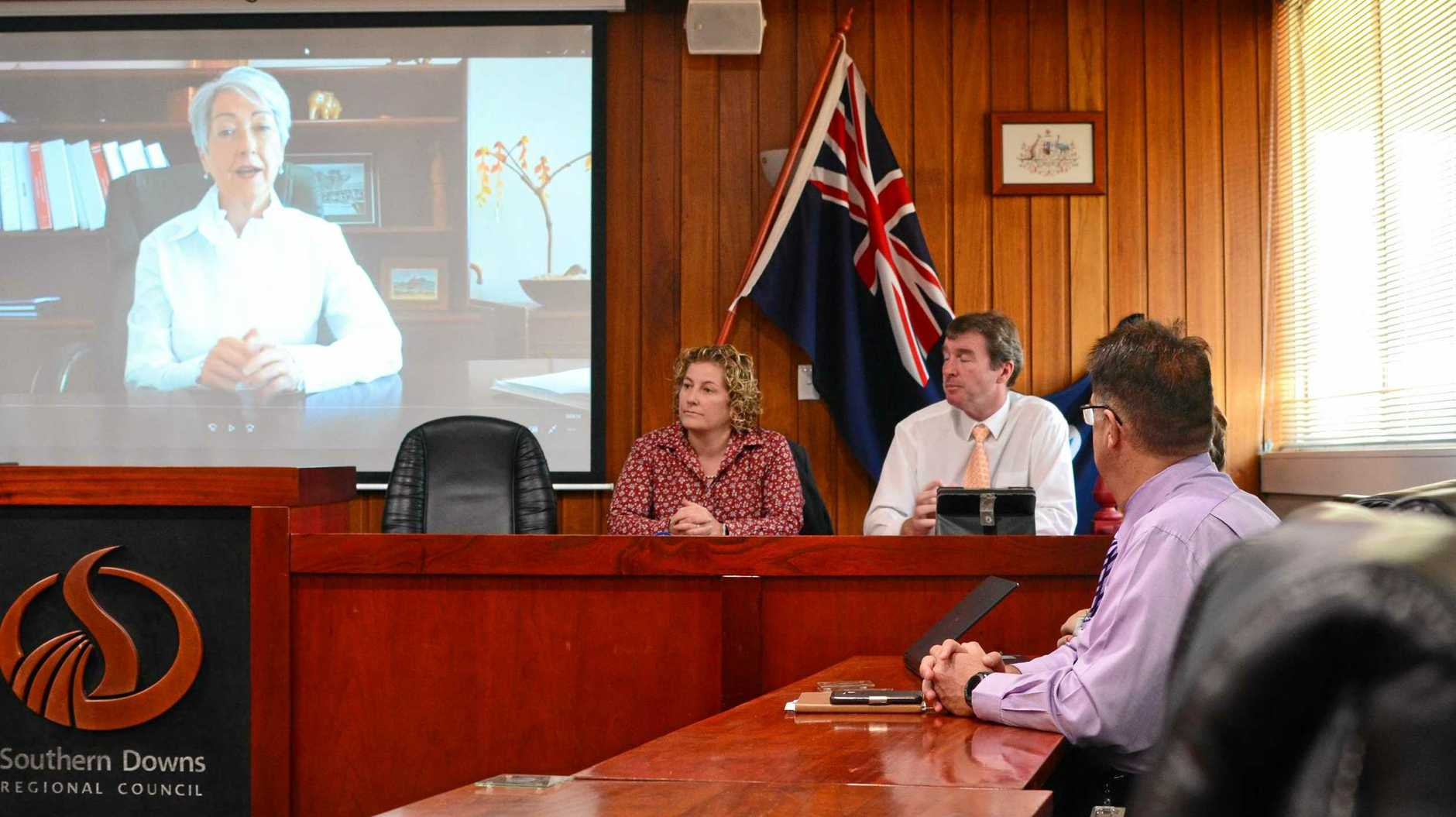 PLANS IN PLACE: Water manager Seren Mckenzie and CEO David Keenan discuss how they plan to supply Stanthorpe water. Mayor Tracy Dobie appears on screen.