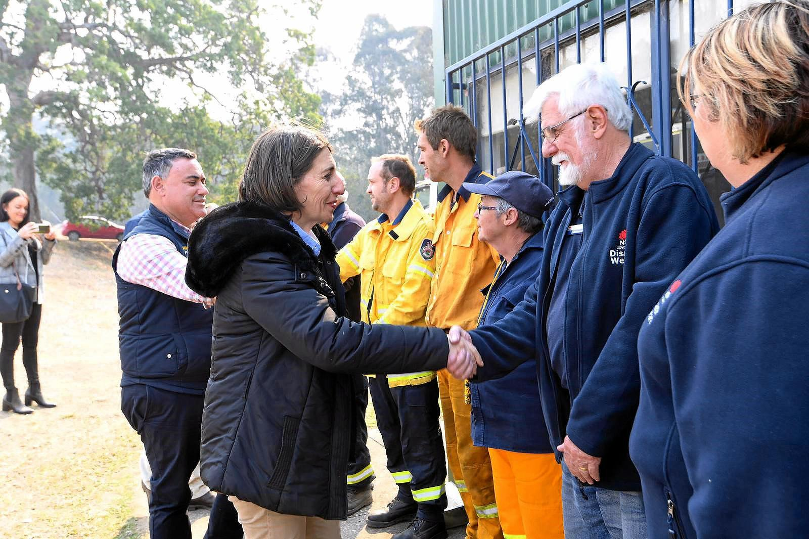 NSW Premier Gladys Berejiklian and deputy John Barilaro meet the community at Drake who have been battling fires since last week.