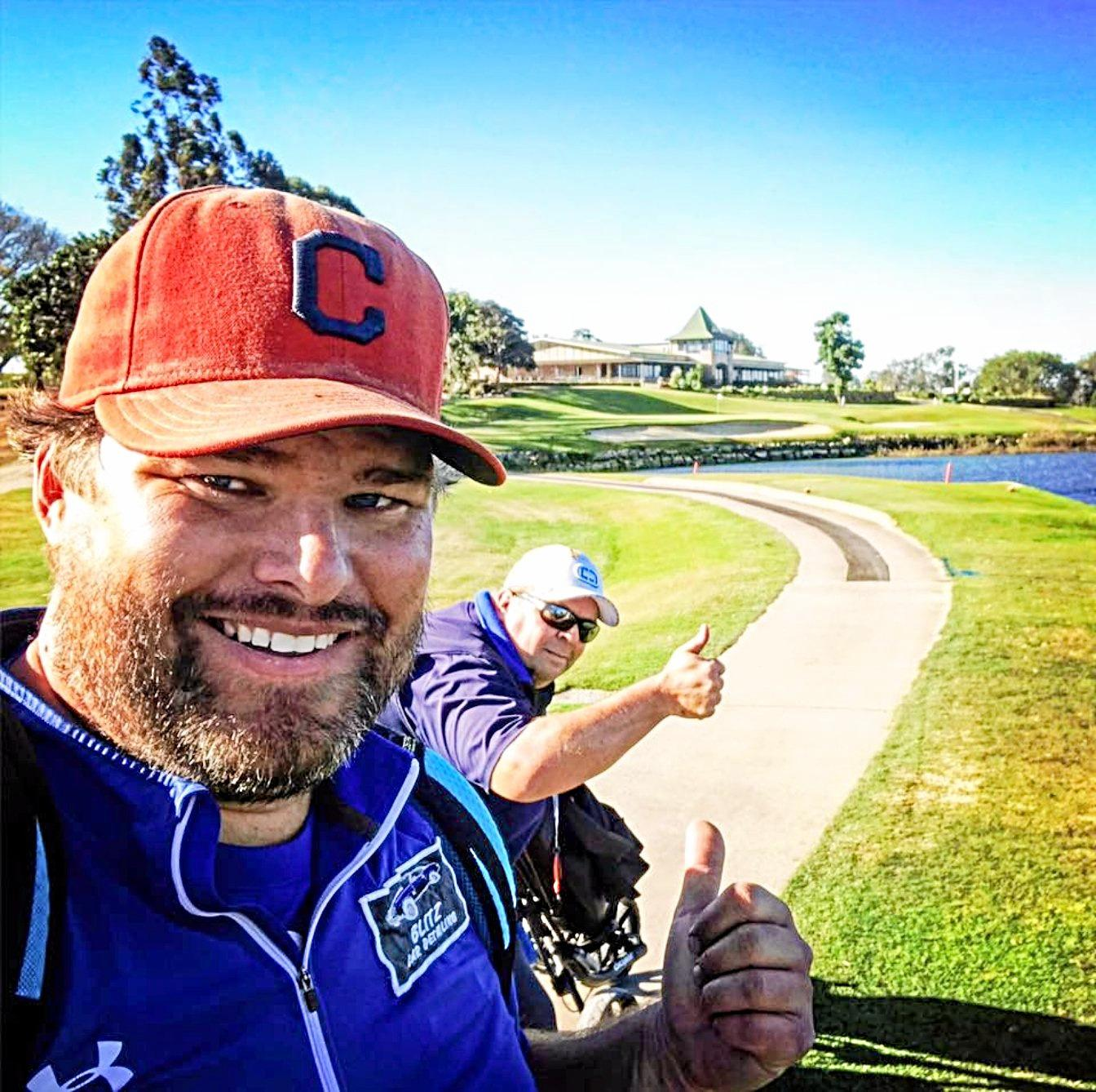 DOING THEIR BIT: Golfer Brian Debert (left) is hoping to grab some mates to head to Stanthorpe for a golf fundraising day in early October.