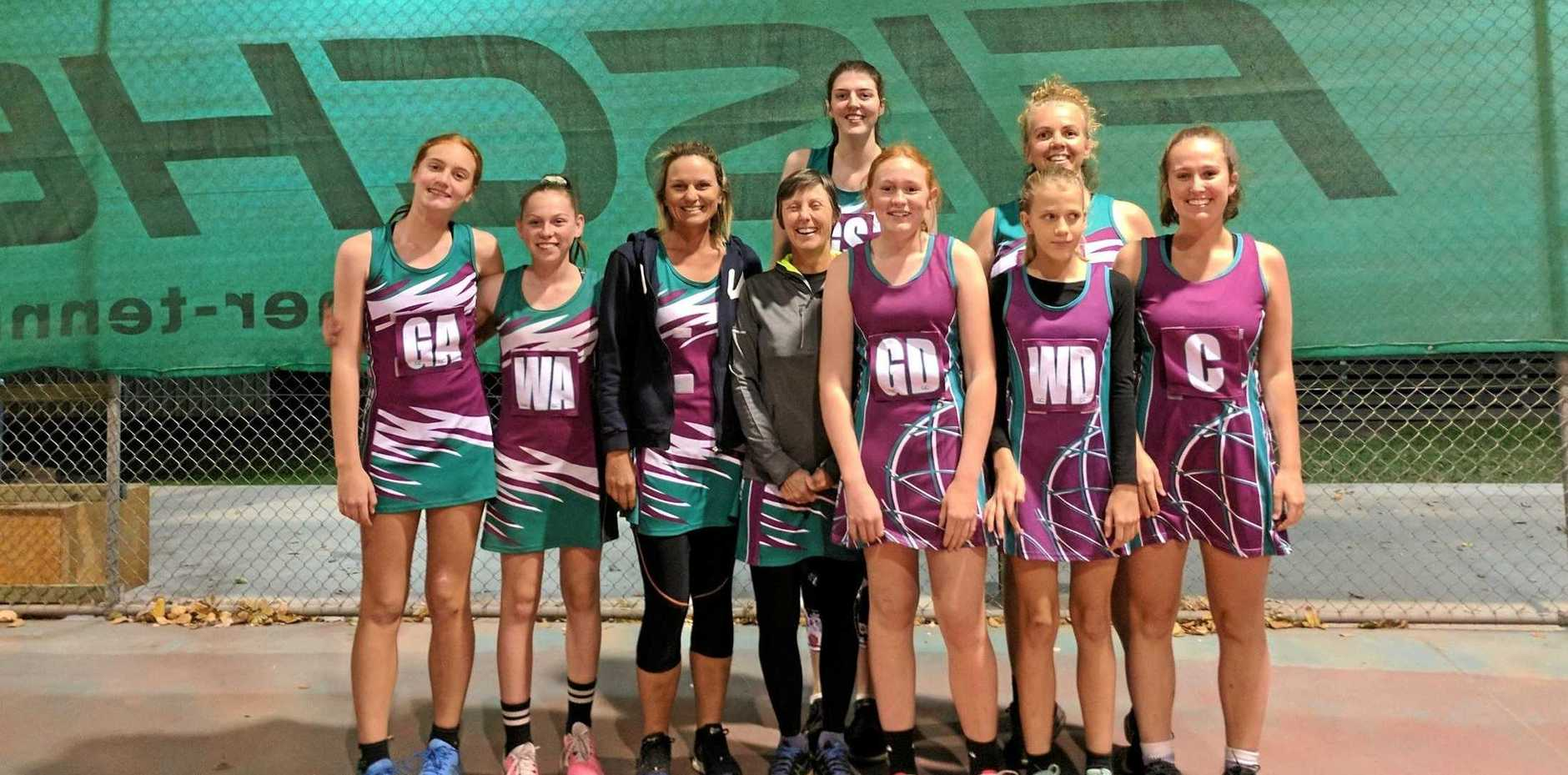 IN WITH A SHOT: Gayndah Senior Netball competition grand finalists Terminators.