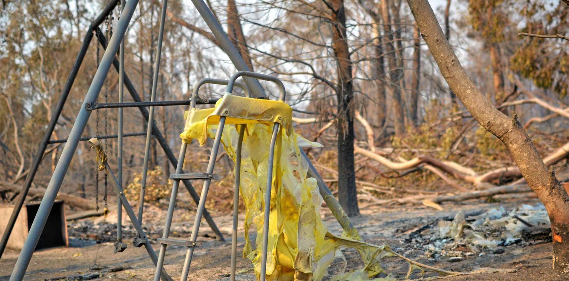 DEVASTATION: Children's play equipment is destroyed by fire at Ballandean.