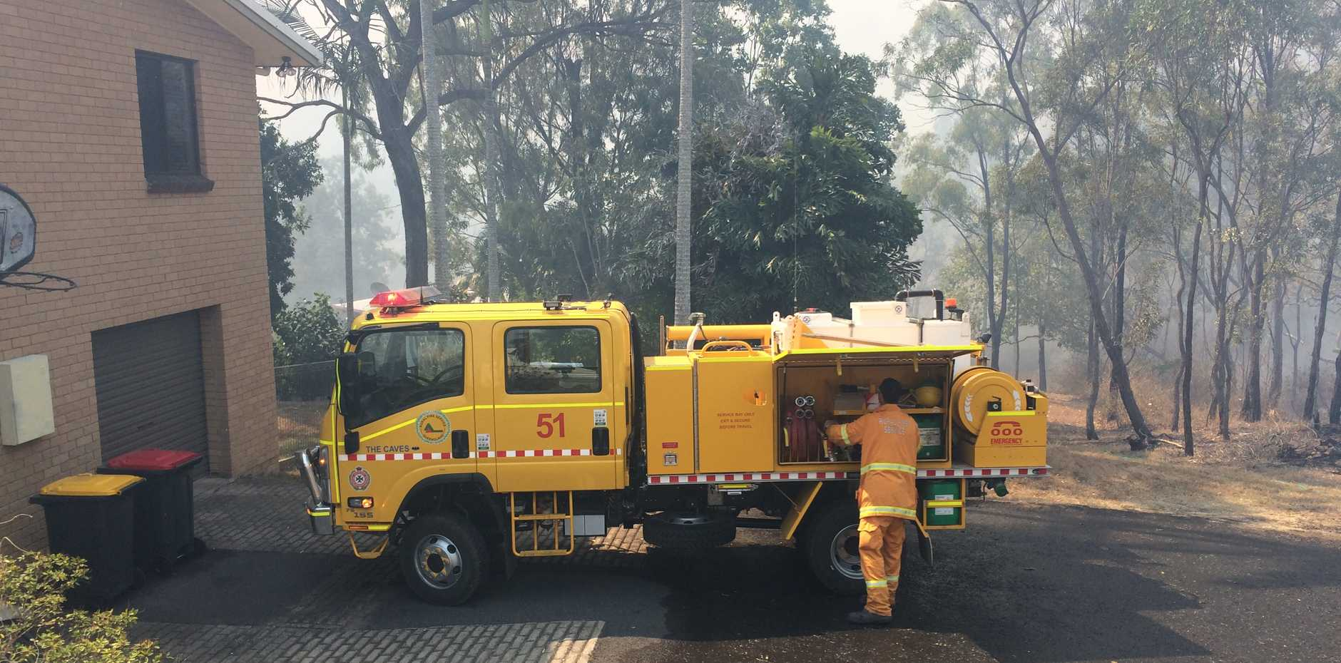 BUSHFIRE BATTLE: Multiple fire crews have converged on streets in the Frenchville where a bushfire is threatening the area.