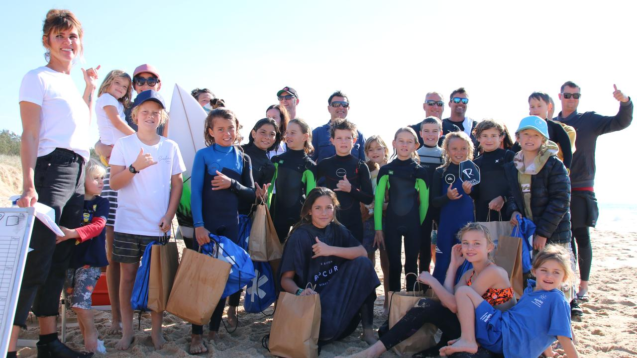 The stoked contingent in the Sunshine Beach surfing competition. Picture: Contributed