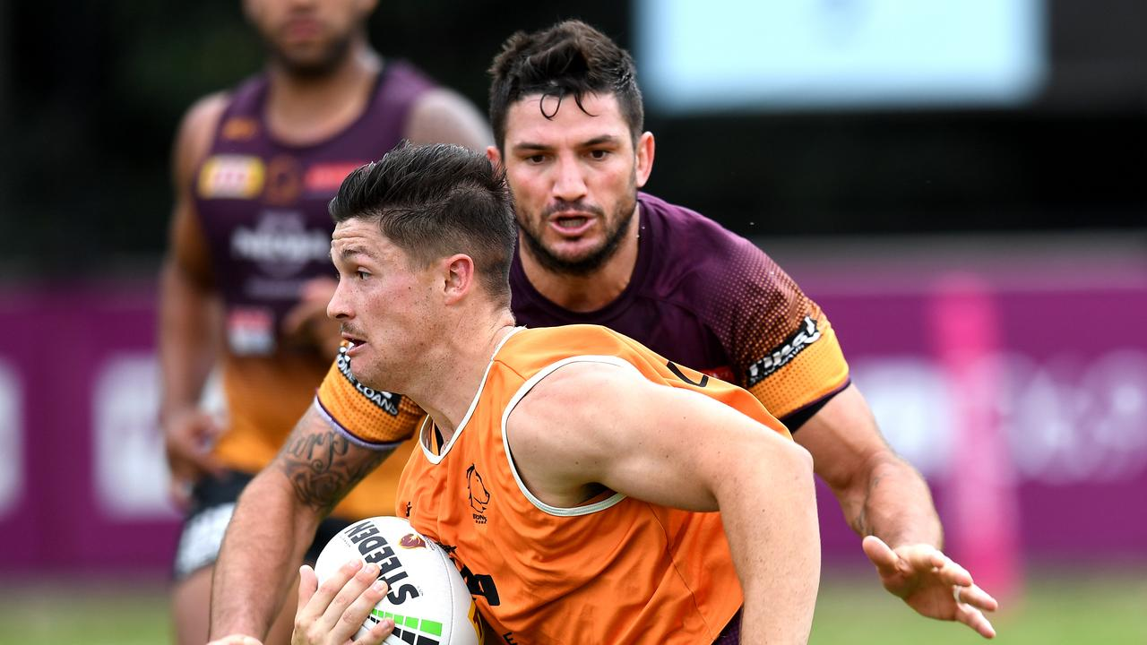 Brisbane Broncos players Cory Paix and Matt Gillett at training. Photo: Dan Peled/ AAP Image