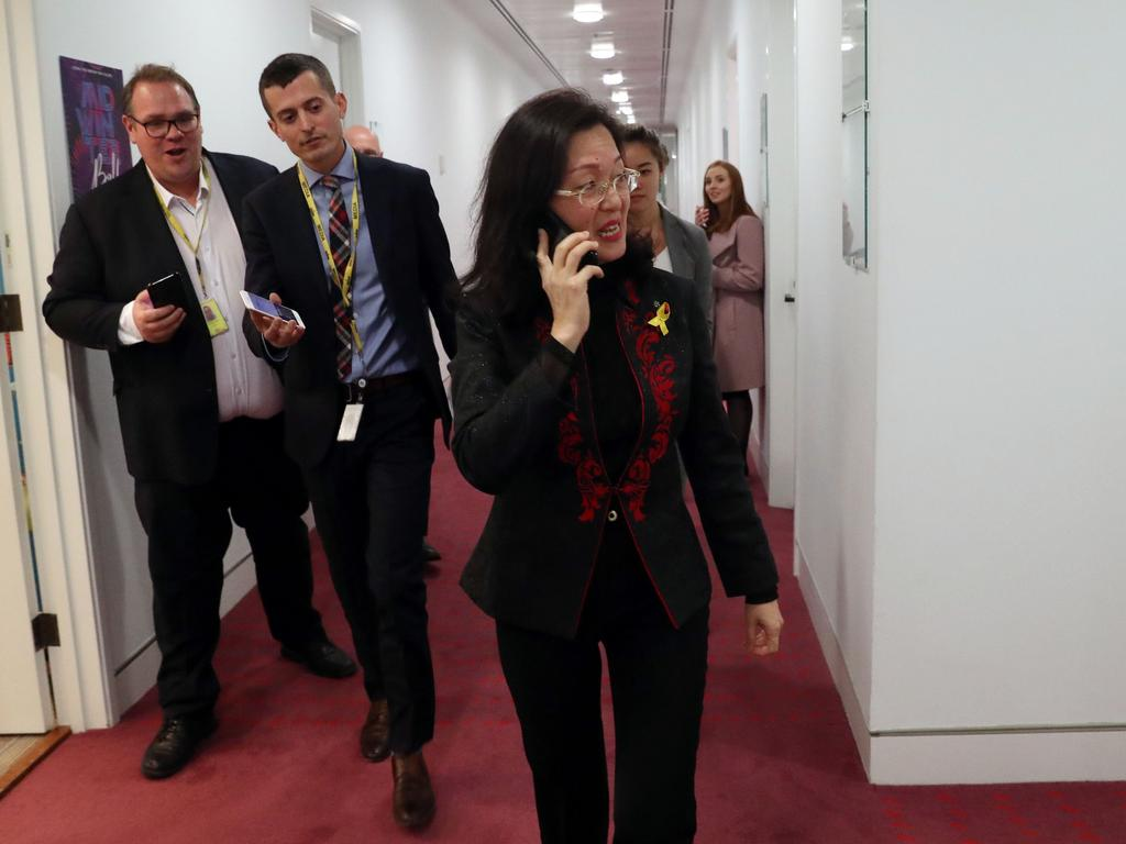 Liberal MP Gladys Liu refused to talk to journalists as she left the Sky studio in Parliament House in Canberra after she was interviewed by Andrew Bolt. Picture: Gary Ramage