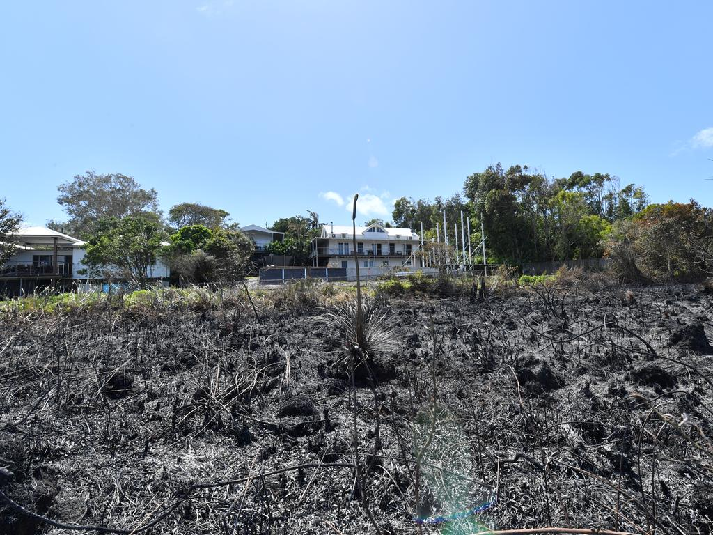 Residents were finally allowed back their homes after the police declared the area safe again following the devastating fires. Woodland Drive shows how close the fires were to homes. Photo: John McCutcheon
