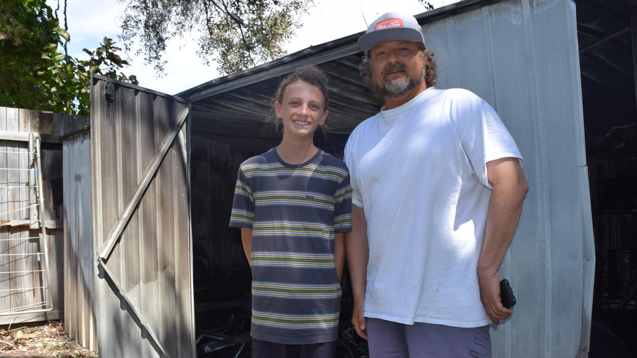 GRATEFUL: Jeff Previti, right, and his son Liam were full of gratitude for the efforts of firefighters who saved their home and others in Oriole Ave, Peregian Beach.