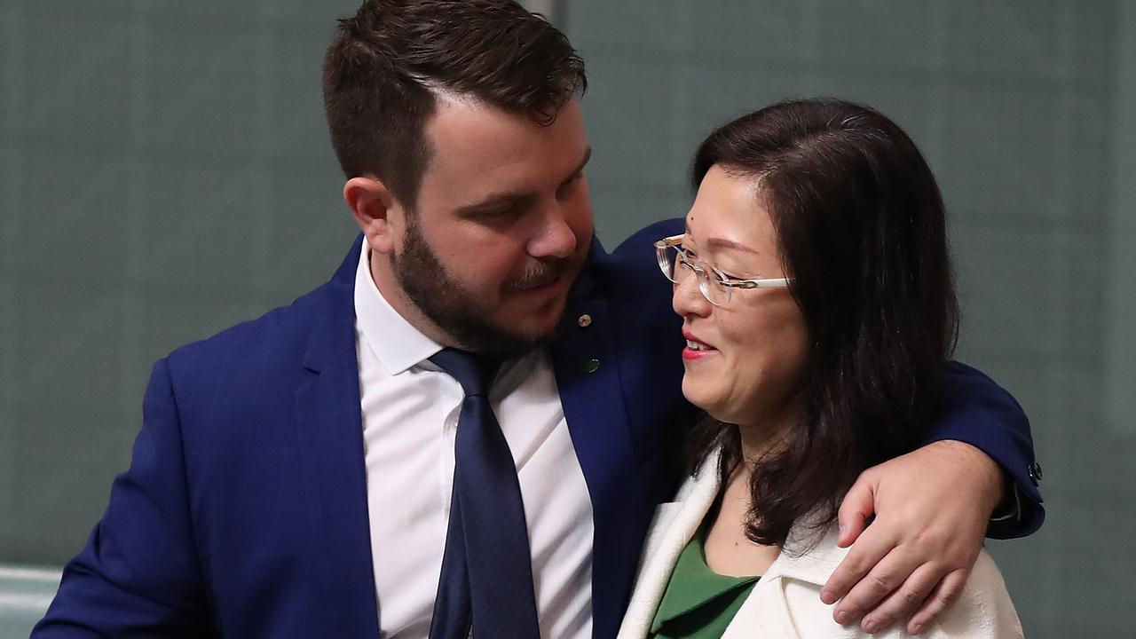 Liberal MP Phillip Thompson hugs Gladys Liu in the House of Representatives Chamber on September 11, 2019, the day after her trainwreck interview on Sky News. Picture: Kym Smith.
