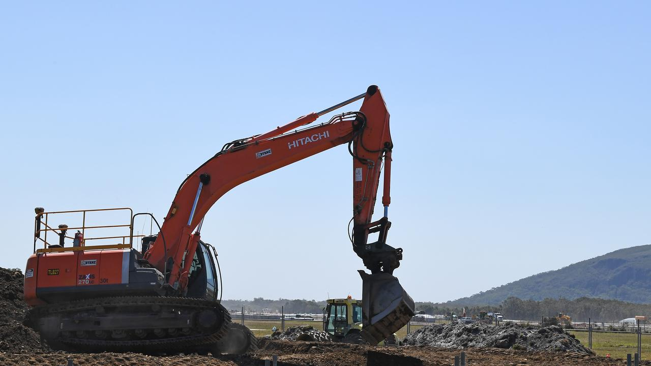 Dusty conditions at the Sunshine Coast Airport runway construction site.