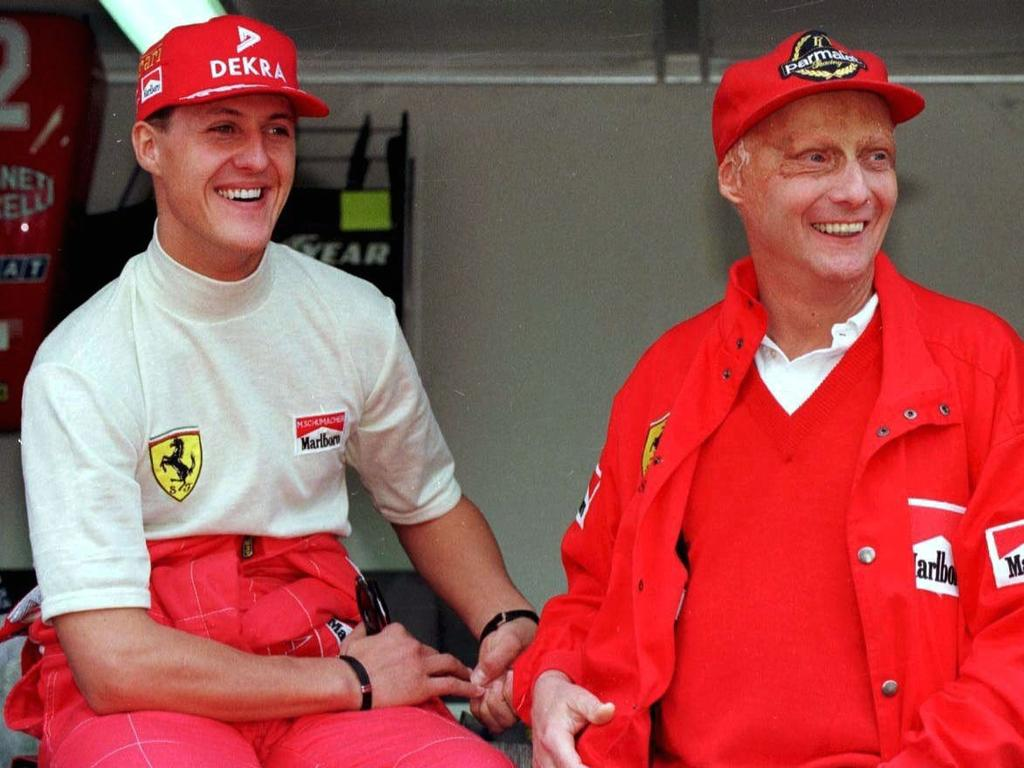 Schumacher pictured with Niki Lauda.