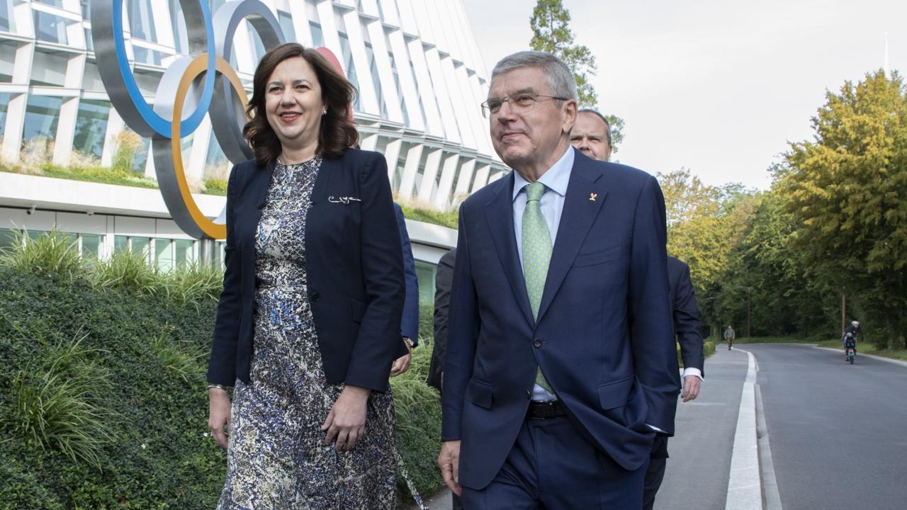 IOC President Thomas Bach Premier Annastacia Palaszczuk in Lausanne. Picture: Greg Martin/IOC
