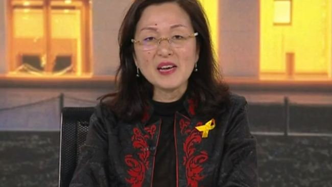Gladys Liu being interviewed by Andrew Bolt last night. Picture: Sky News