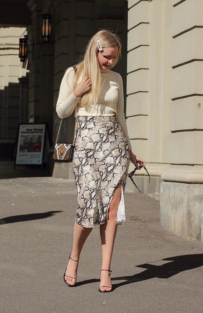 Blogger Bianca declared her love for the python print skirt on social media. Picture: Instagram / biancamelb