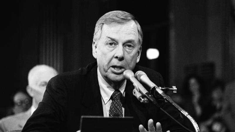 1984, file photo, T. Boone Pickens, of Mesa Petroleum, speaks at the Helmsley Palace Hotel in New York.