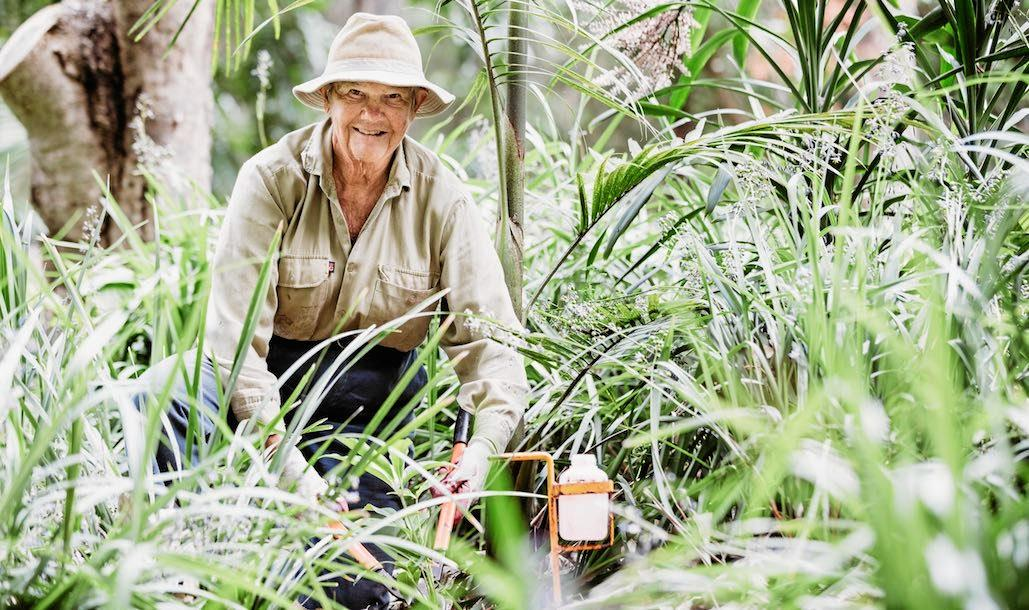 CLOSE TO THE EARTH: Landcare member and property owner Stephanie Lymburner works to bring back original flora.