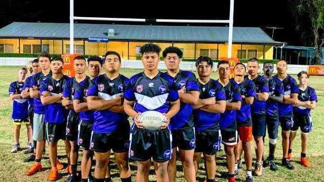 Goodna's minor premiership-winning under-14 rugby league team.