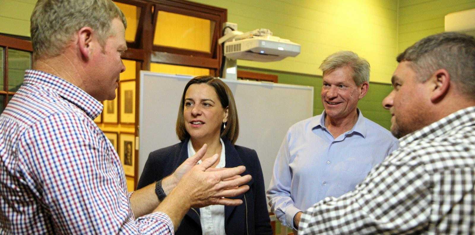 MEETING: Opposition Leader Deb Frecklington speaks to Lockyer Valley Growers president Michael Sippel, Lockyer MP Jim McDonald and Troy Qualischefski.