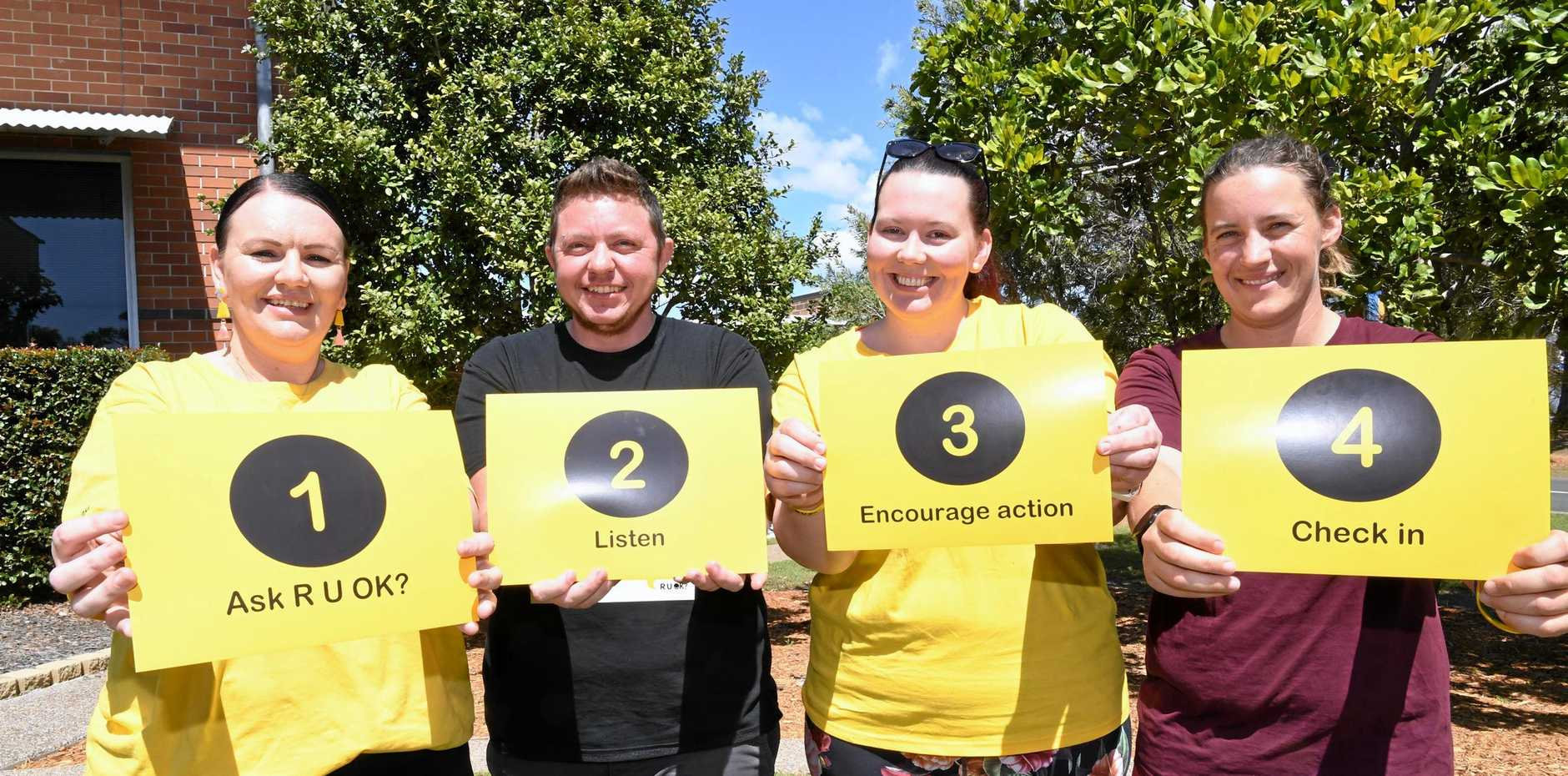 BRIDGING MENTAL HEALTH: USC Fraser Coast students Kelea Wyatt, Kyron King, Kymberly Smith and Samarah Evans at the campus' R U OK Day. The support group helps connect Fraser Coast students with the services they need to treat mental health problems.