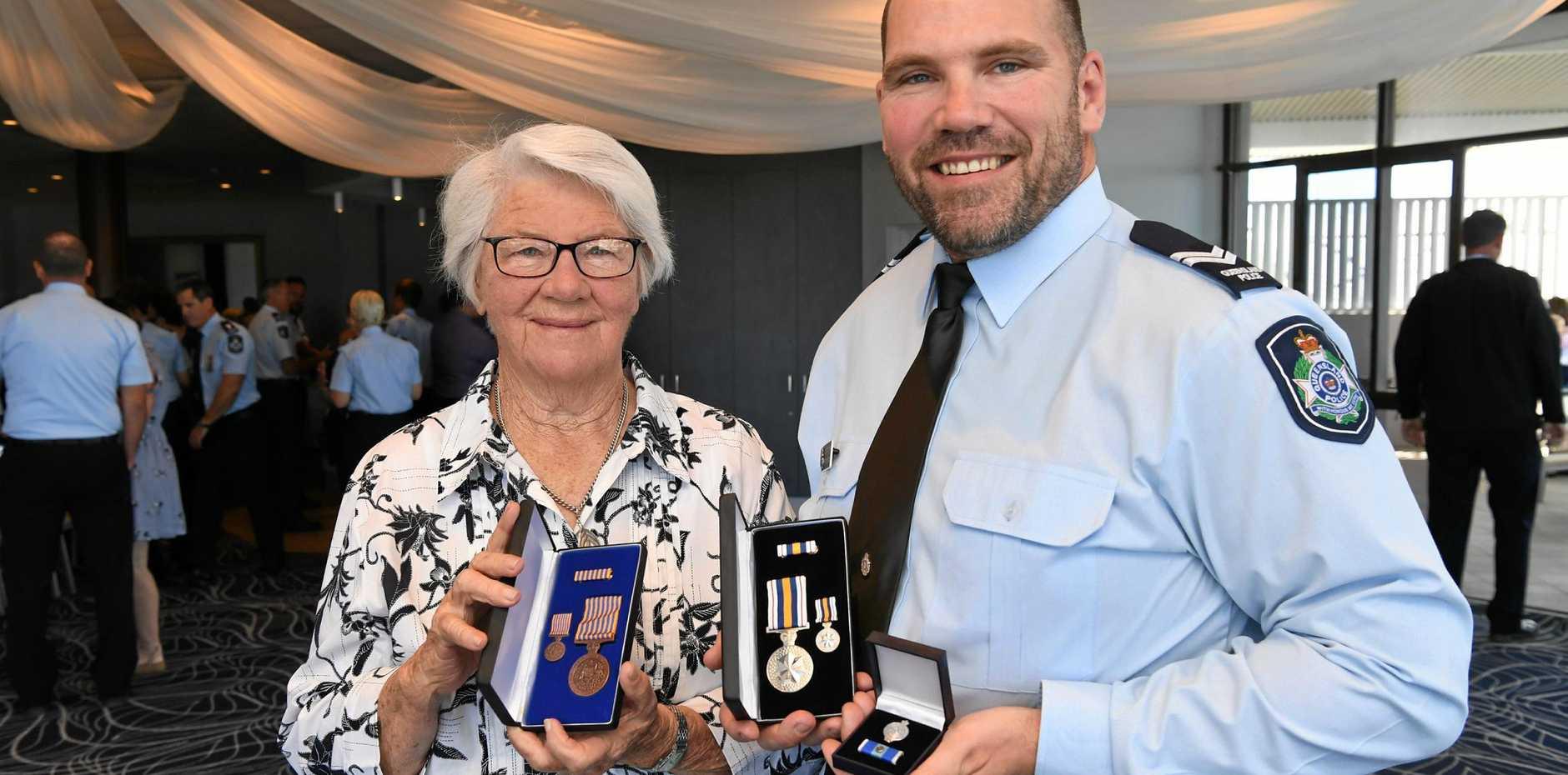 TRIPLE THREAT: Senior Constable Christin Donaldson and mum Aileen.