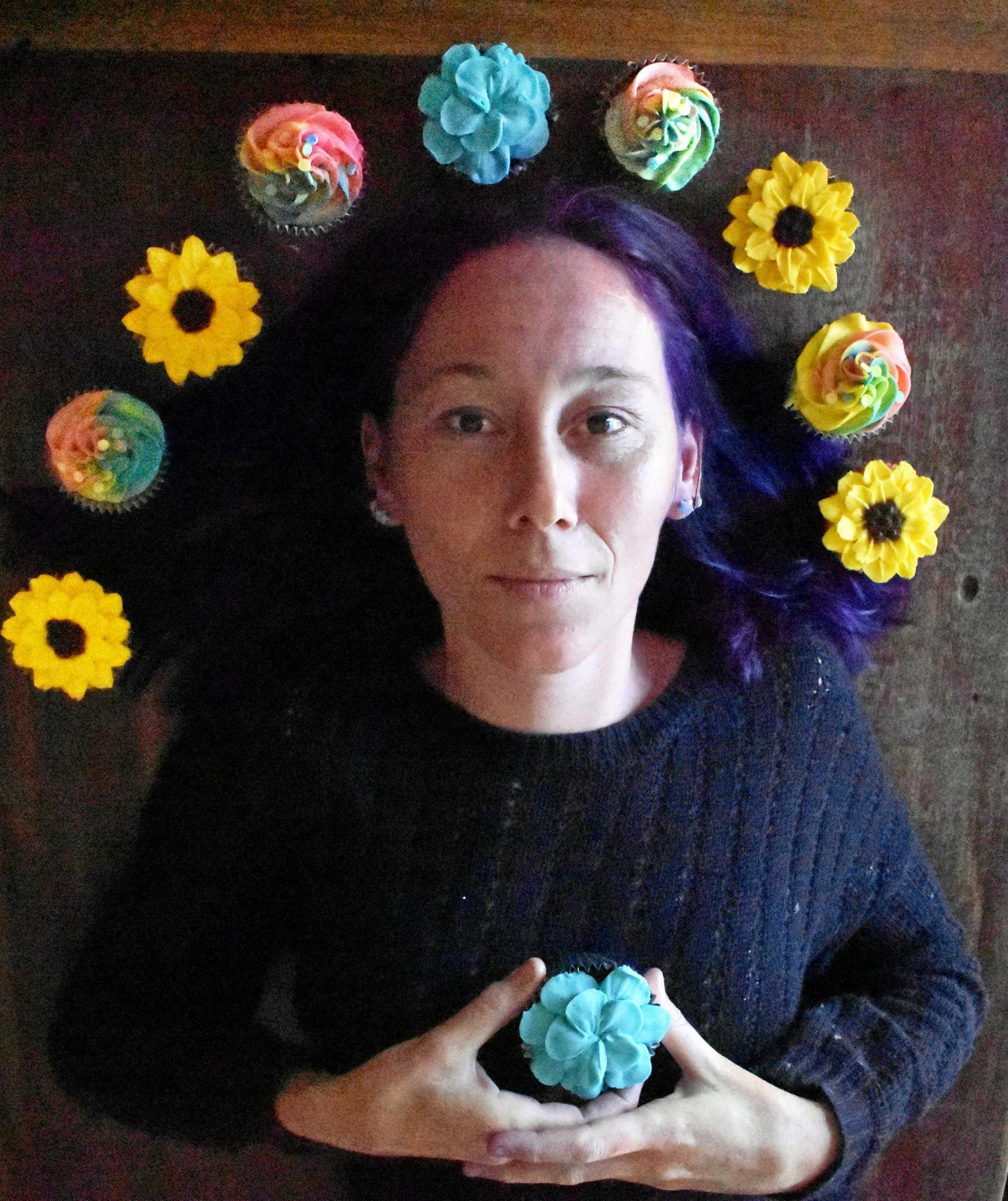 Coraki's Crazy Cake Lady Bindi Maddern with her cupcake creations.