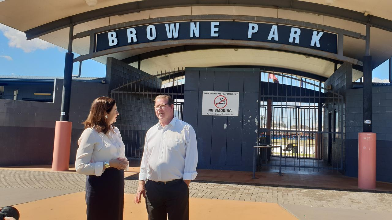 STADIUM DISCUSSION: Premier Annastacia Palaszczuk visited Browne Park in July and provided further clues regarding the future of the proposed new stadium upgrade.