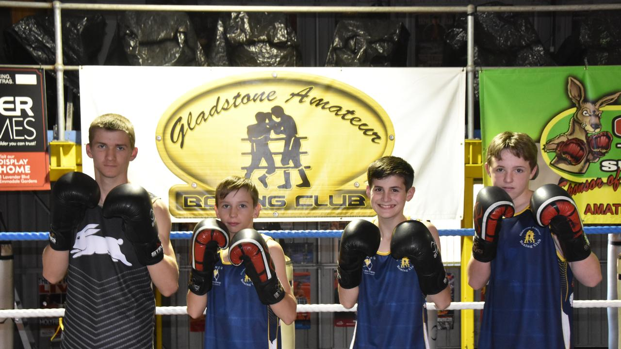 Kyle O'Dwyer, 14, Lewis Black, 13, Tyler Wheeler, 13, and Jack Williams, 13, at Gladstone Amateur Boxing Club.