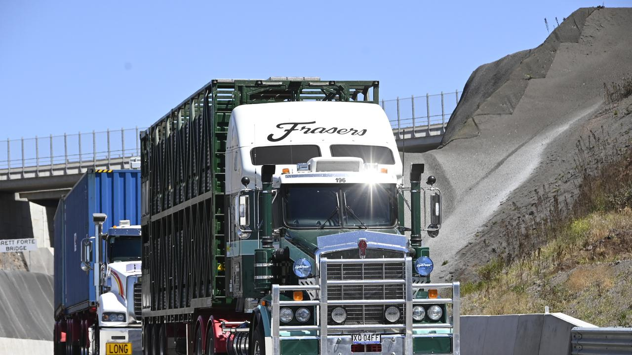 The first trucks on the Toowoomba bypass and second range crossing this week.