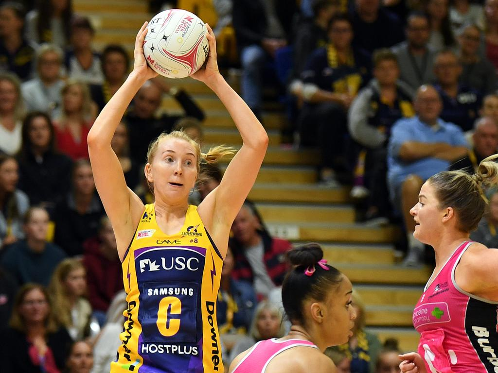 Madeline McAuliffe of the Lightning will play her third consecutive Grand Final when the Sunshine Coast take on the Swifts on Sunday. Picture: AAP Image/Dan Peled