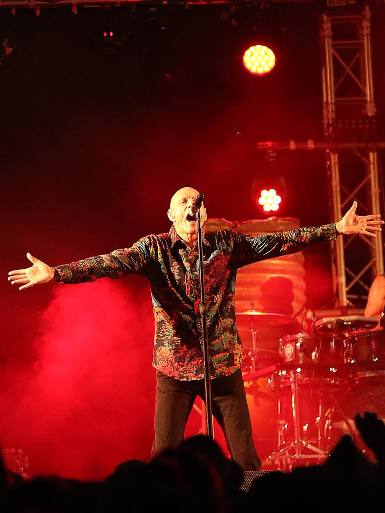 18/07/2019: Midnight Oil close the The worlds most remote music festival the Big Red Bash, at the base of the Big Red sand dune, west of Birdsville, QLD. Lyndon Mechielsen/The Australian