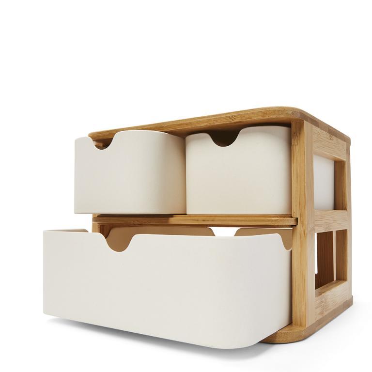 This bamboo three drawer storage unit.