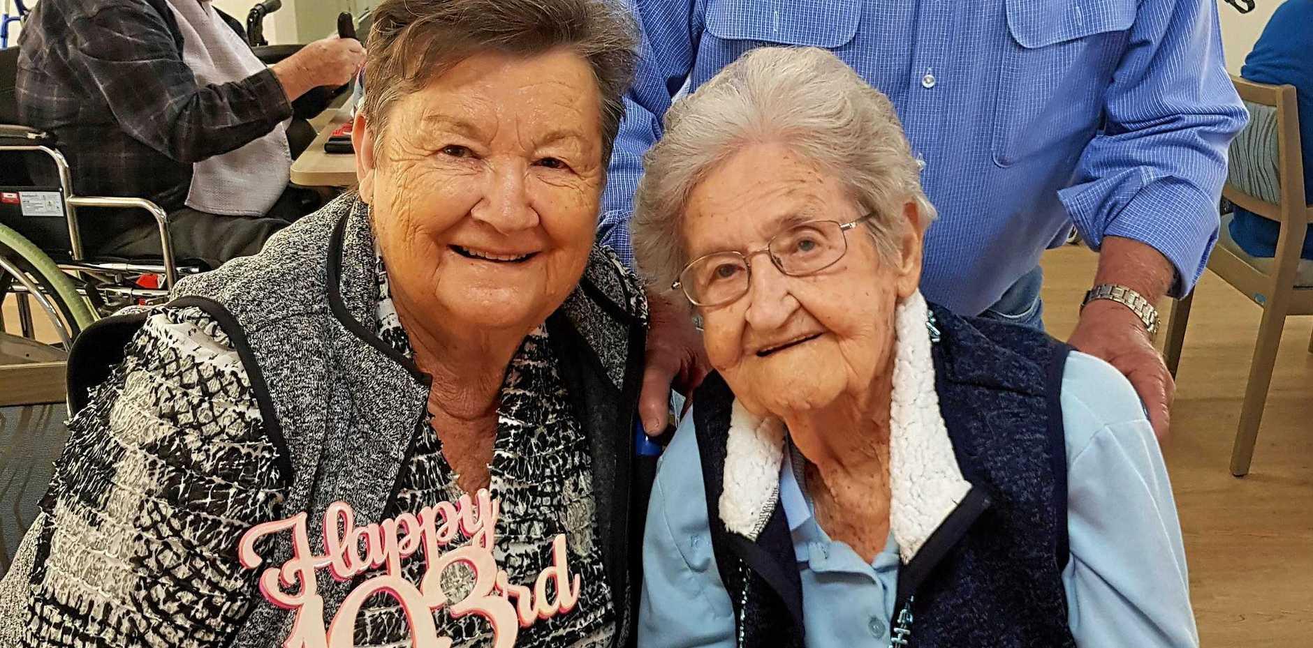 HAPPY BIRTHDAY: Vera Scheiwe (right) celebrates her 103rd birthday with daughter Carol Harch.