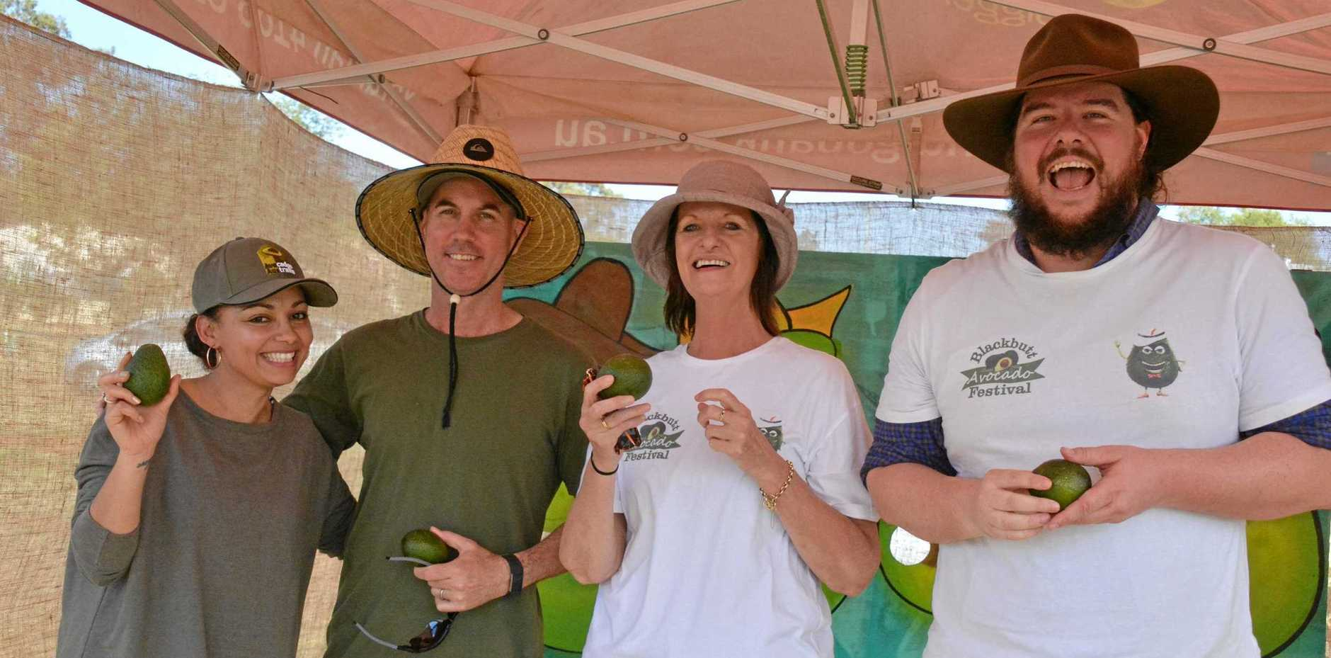 AVO TOSS: Volunteers Amanda Hough, Ken Hough, Chris Hvalica and Shayne Burns ran one of the avocado competitions at the Blackbutt Avocado Festival in 2018.