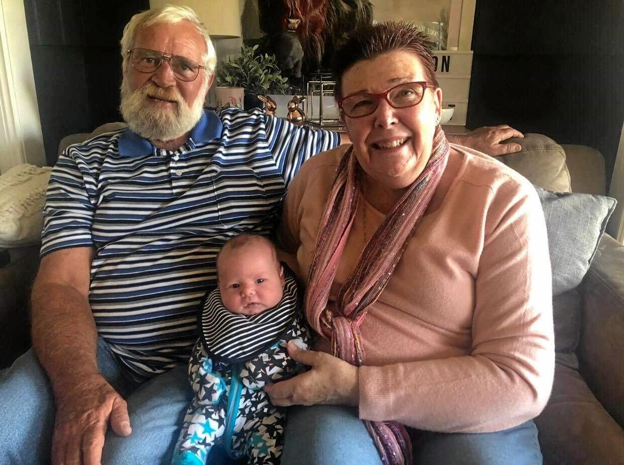 HAPPY FAMILY: Paul and his wife Judith Spence with their great-grandson Nixon Mackie.