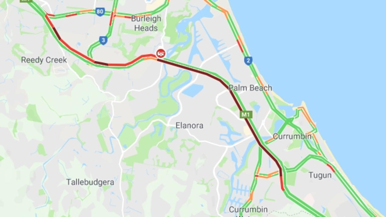 Traffic is heavy in both directions on the southern Gold Coast due to a car crash. Picture: Google Maps