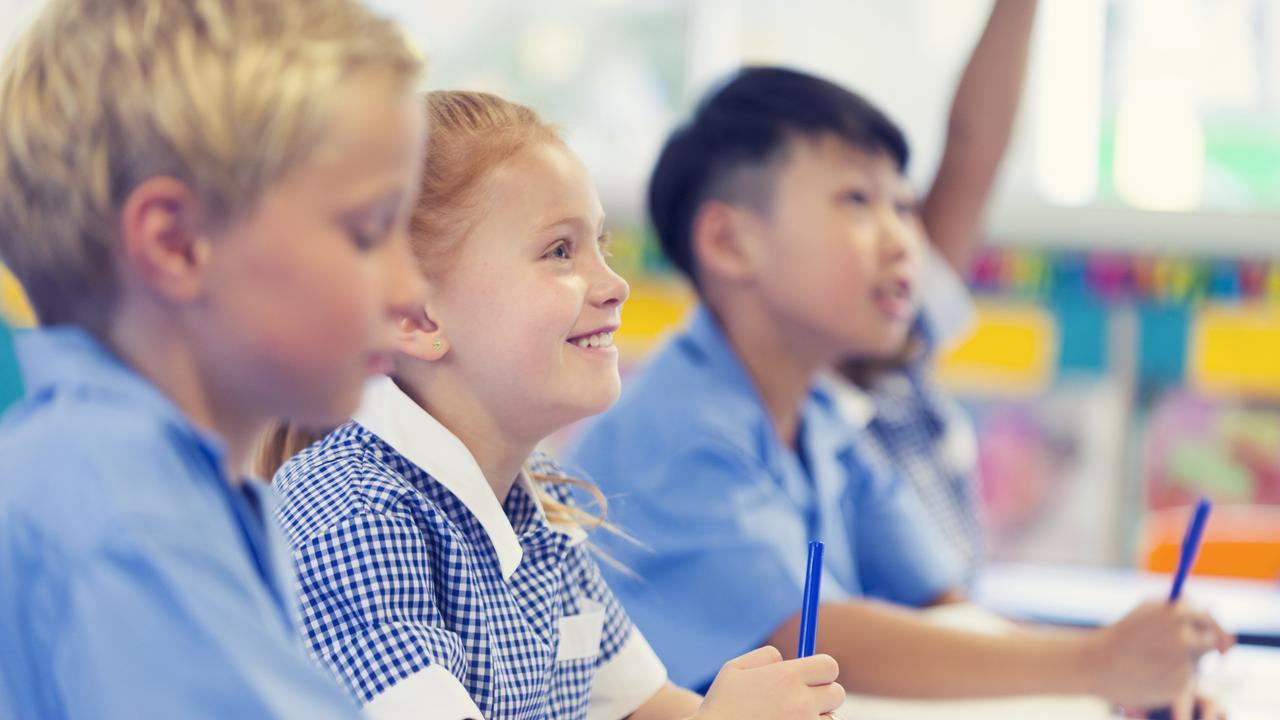 Group of children listening to the teacher.