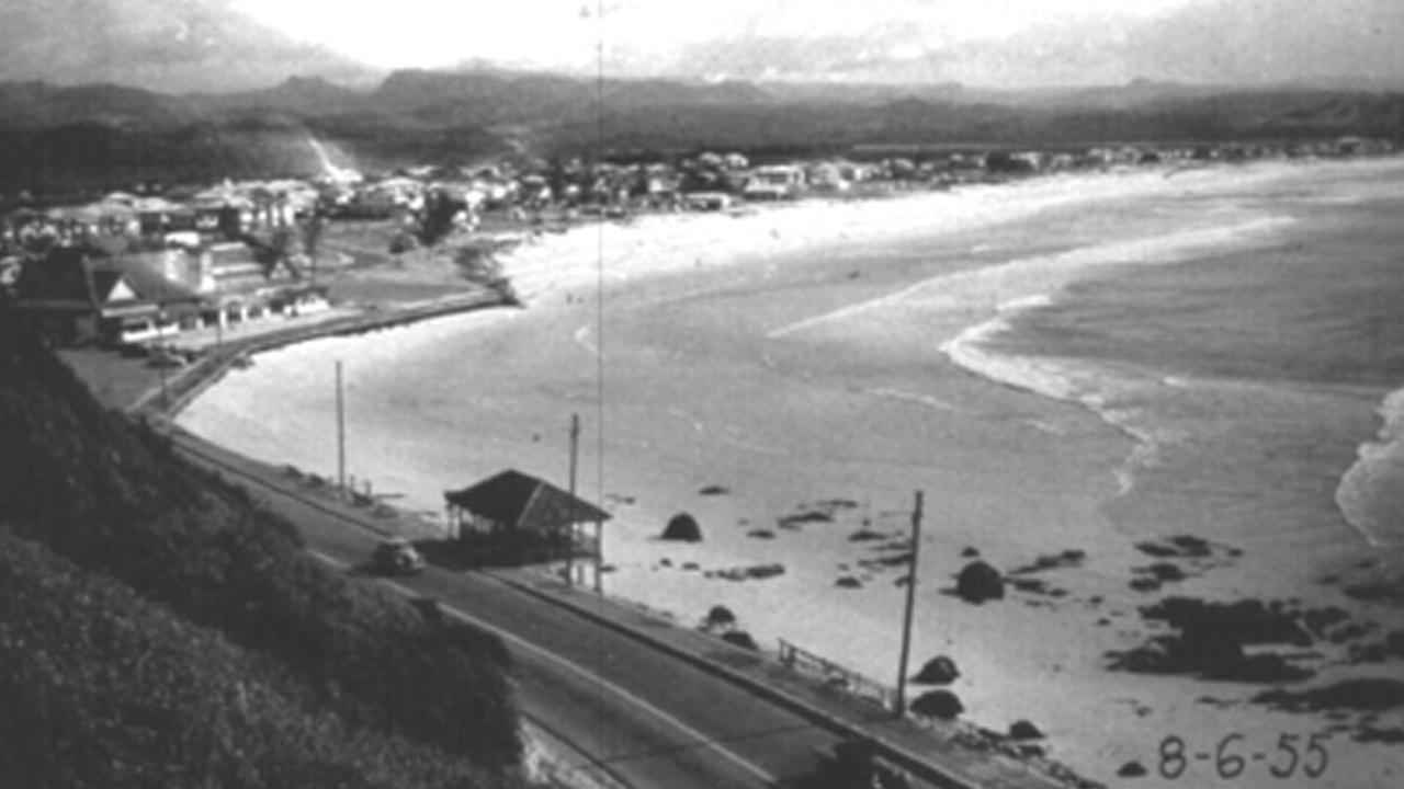 Kirra Beach was slow to recover naturally from the February 1954 tropical cyclone. A year and a half later the beach in front of the Kirra Beach Pavilion was still very narrow, offering little protection from further storm damage. Photo: Unknown photographer, NSW Department of Lands archive 1955