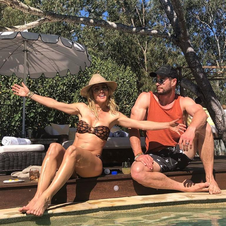 Elsa and Chris live it up by the pool.