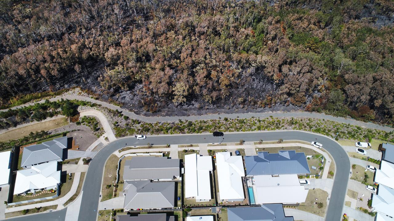 Drone photos after the fire devastation at Koel Circuit, Peregian Springs. Photo Patrick Woods / Sunshine Coast Daily.