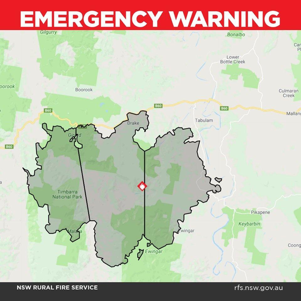 EMERGENCY WARNING: LONG GULLY RD, DRAKE (Tenterfield LGA).