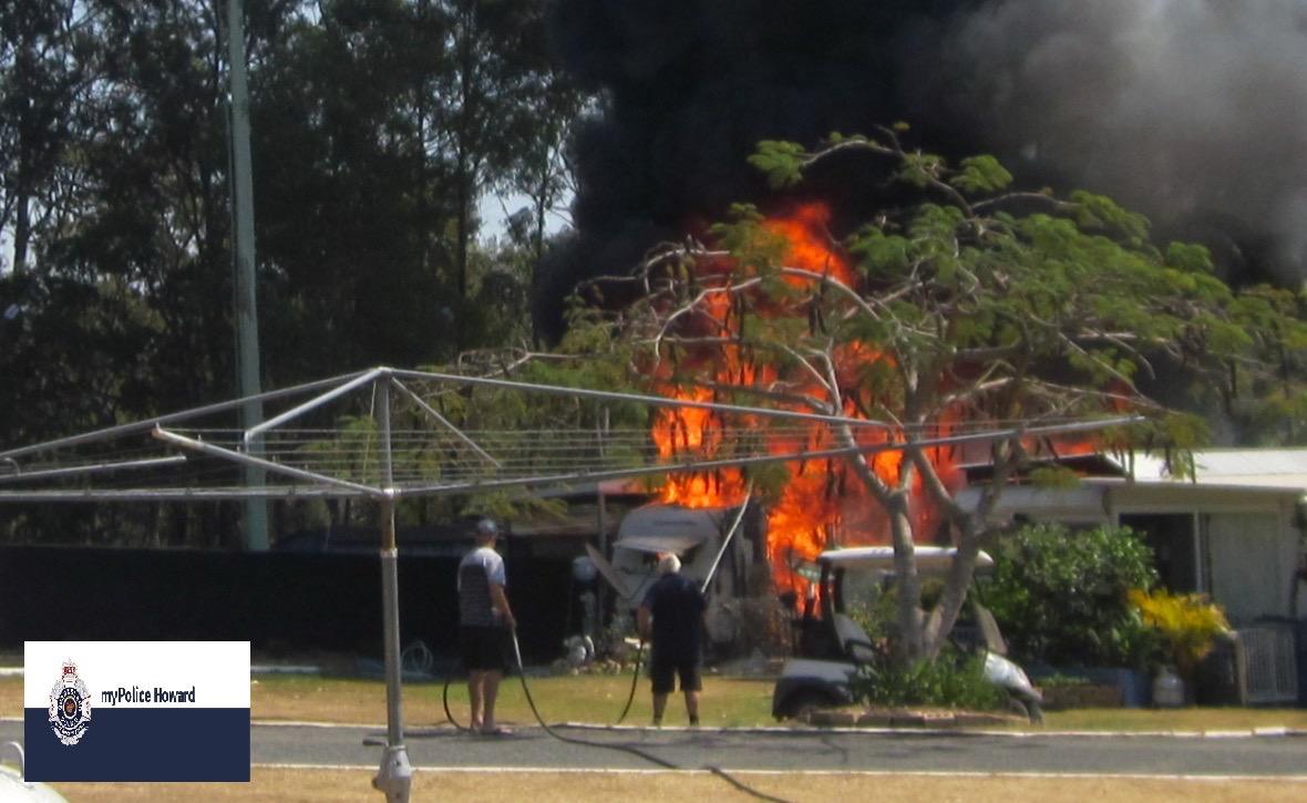 A caravan caught fire at Burrum River Caravan Park.