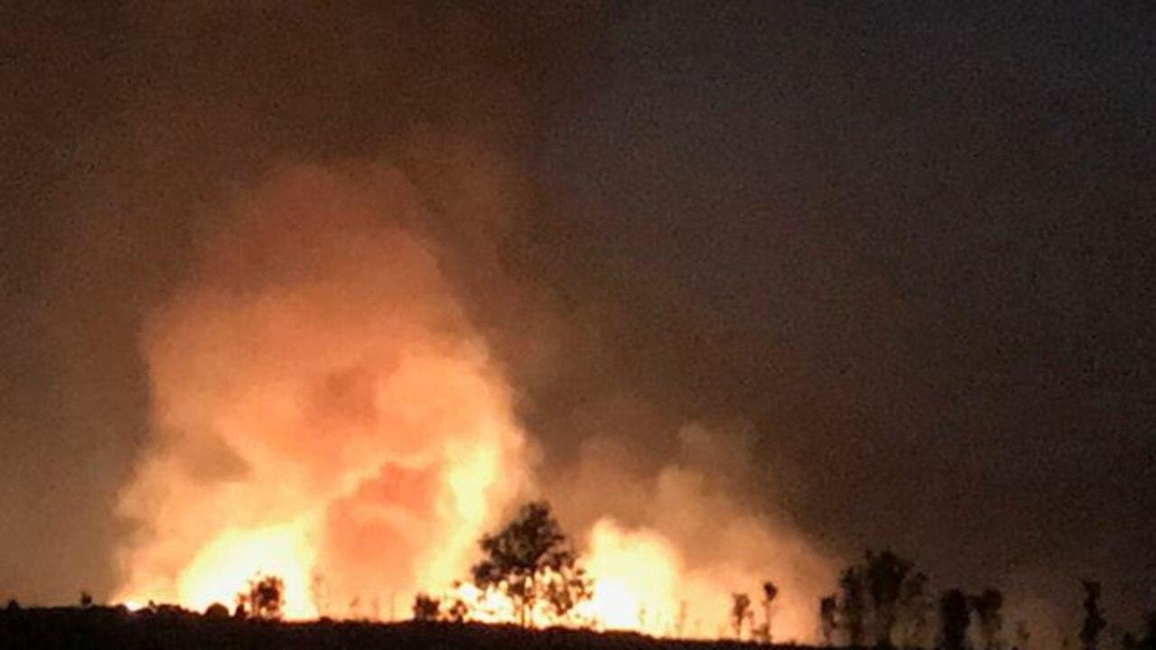 The fire ablaze on Phillip and Susan Bonaccorsi's property on Carbonate Creek Rd, Dimbulah.