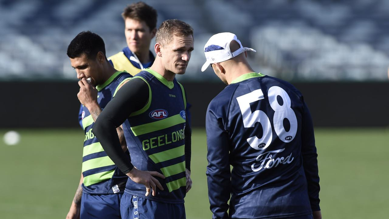 Joel Selwood, centre, with Gary Ablett and Tim Kelly at GMHBA Stadium. Picture: Alan Barber