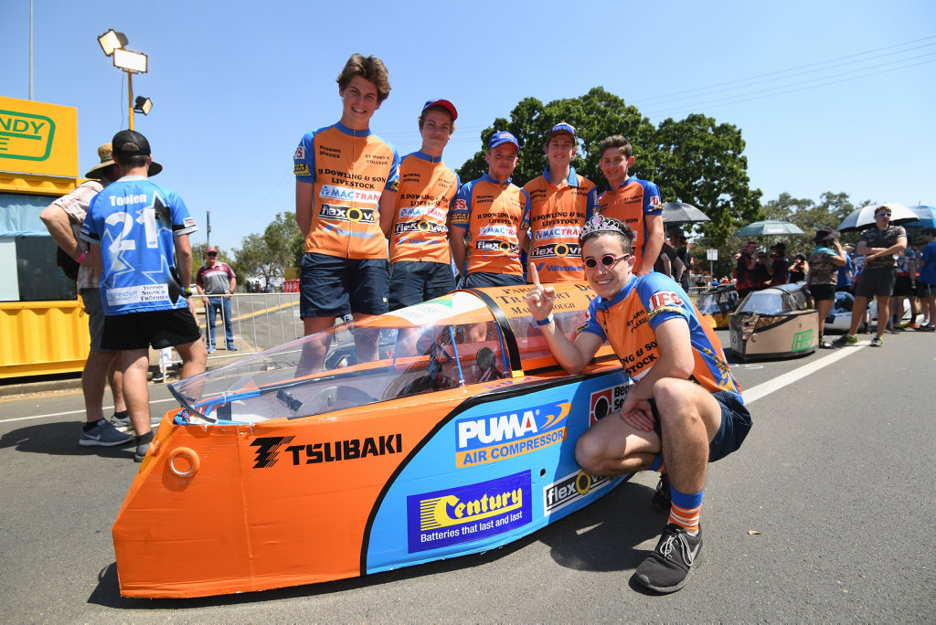 2019 Fraser Coast Technology Challenge - pole position for St. Mary's College No Worries team (L) Logan Maile, Jayden Sawtell, Ben Sillitoe and Lachlan and Morgan Waldock with birthday boy Keegan Harvey turning 18.