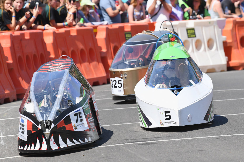 Image for sale: 2019 Fraser Coast Technology Challenge - Demons (75) from Marist College, Emerald and Cyclonics (5) from St. Mary's College at the hairpin.