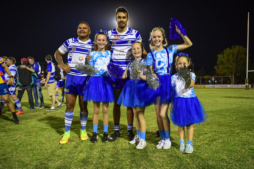 Tyrell Priestley and Jayden Alberts with their biggest fans, Larna Hodge, Avril Plaith, Bailee Baldwin and Kierra Golchert.