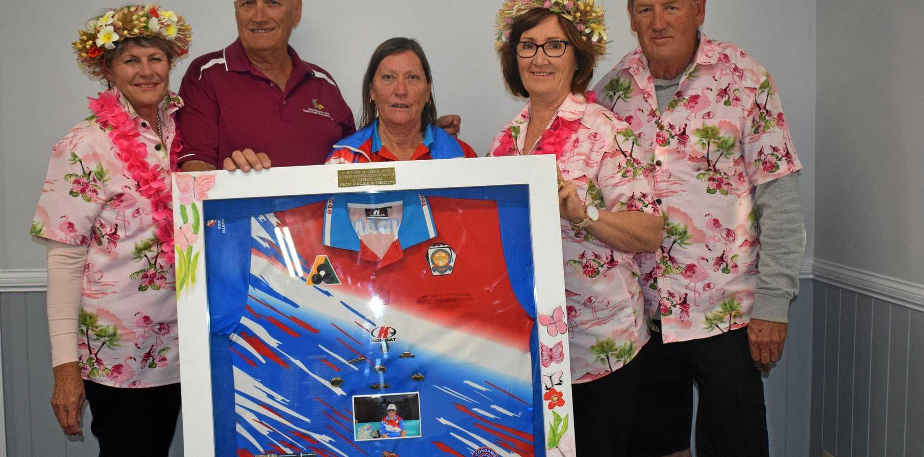 REMEBERING: Julie and Peter Jones, Margie Read, Bernette and Rob Nielsen get presented the memorabilia for Cheryl Jones.