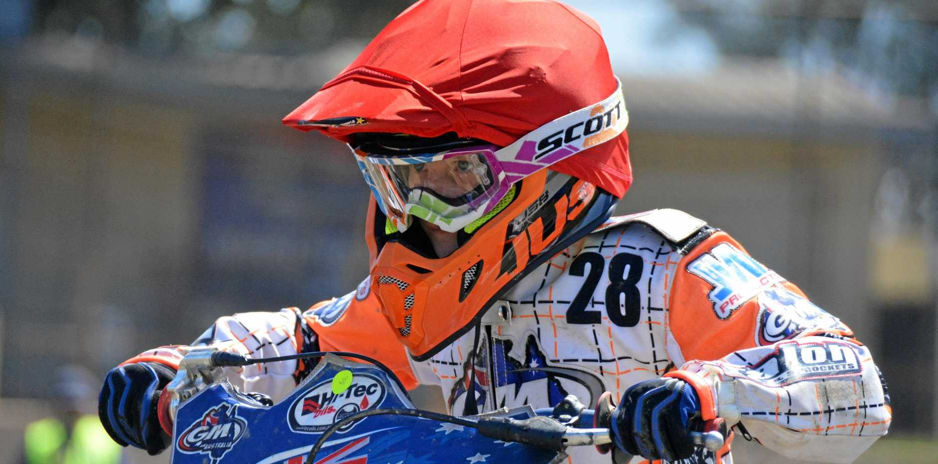 Troy Jackson at the Kingaroy Junior Motorcycle Speedway state titles.