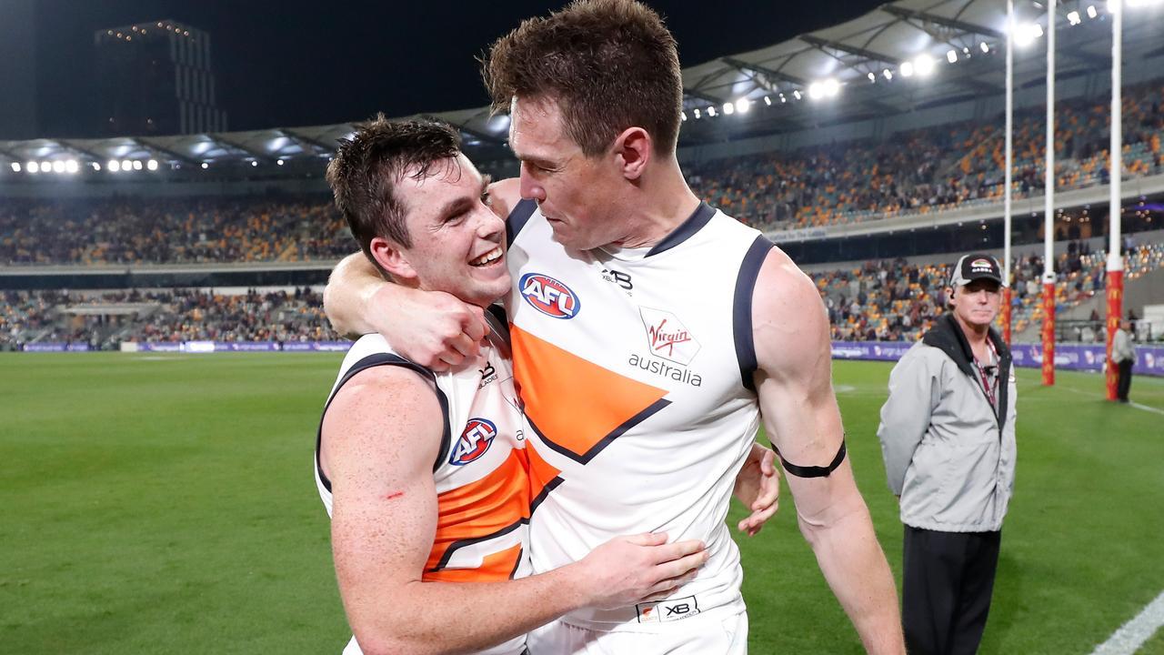 Jeremy Cameron thanks Brent Daniels for sending GWS through to the preliminary final.