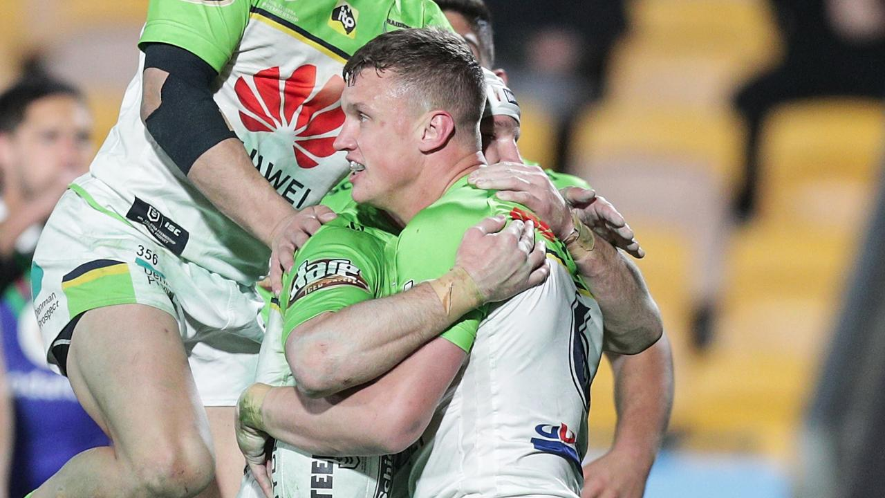 Jack Wighton celebrates a try for the Raiders earlier this year. Picture: AAP