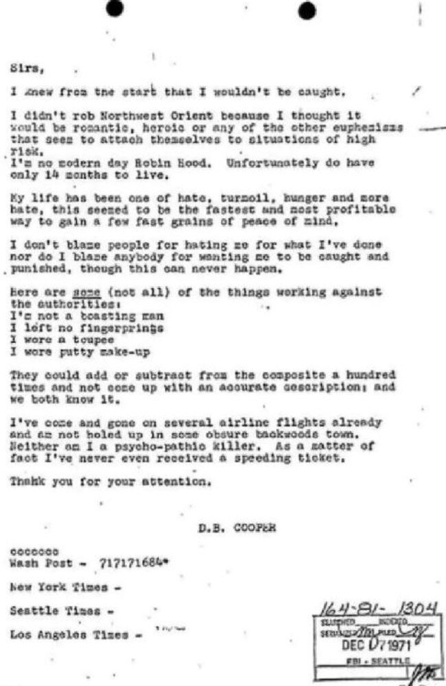 The letter, sent in 1971, which was signed off by DB Cooper.